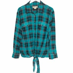 Michael Kors tie front button up  plaid shirt